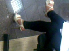 splendid shoe and feet in the bank.....