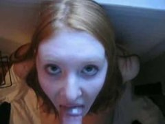 Sweet Little Redhead Sucking Cock WIth Facial