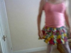 short skirt stockings and bra