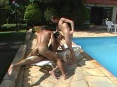 Hot latino gay dudes fucking by the pool