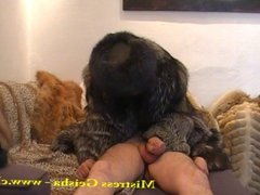 Asian femdom in fur coat