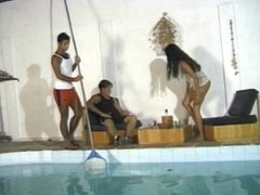 Bisexual MMF Threesome by the pool