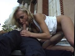 blonde babe sucking a dick in upstairs