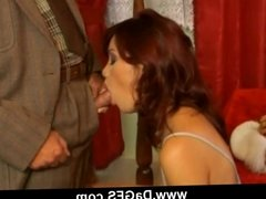 Hot babe gets anal sex from old pervert