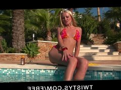 Twistys - Slutty blonde bikini babe masturbates to orgasm