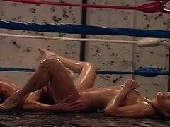 April Adams Lesbian Oil Wrestling