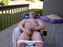 Jay jacks on deck in white shirt & undies