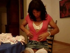 Andrea  receives sexy lingeriepresent
