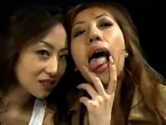 Hot  japanese girls kissing.sharing cum and swapping cum