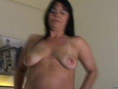 Mature mother Roseline loves her big dildo