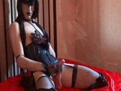 Sissy slave Puppi handjob with cum