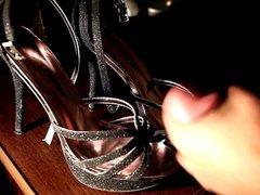 Cum on black heels