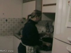 Blonde Eats Cock In The Kitchen