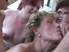 Horny old mothers love to share one young cock