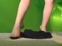 Hot milf strips in sheer panties and hosiery