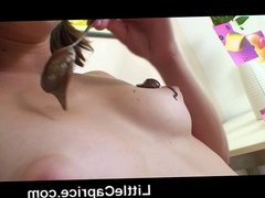 Dirty teen Caprice gets covered with chocolate & fingers pus