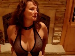 Mature MILF riding a vibrating dildo