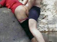 Indian couple fucking in GOA beach behind rocks