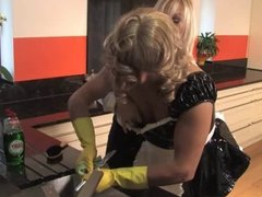 English Mistress fucks a Sissy in the kitchen