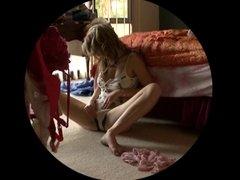 Girl Masturbates on bedroom floor