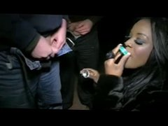 Hot Brit Ebony Gives A Gang BJ