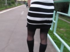 Braless girl in skockings outdoor