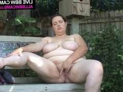 What Can A Bbw Do To Her Chubby Pussy On A Bench ???