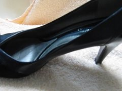 My wife's sexy black patent leather high heel