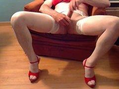 Red Bra & Red Heels Cum