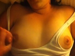 Cum on wife's tits