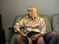 Creaming in my cream satin blouse