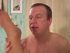 Goddess in nylons and corset sucks cock