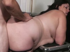 Bored BBW bouncer and a guy without a pass