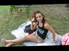 Awesome public sex adventure with hot babe