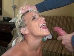 Amateur blonde girl takes a huge facial