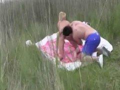 Blonde wife gangbanged on the beach