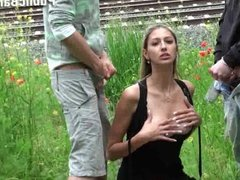 Gorgeous TEEN in RAILWAY threesome Part 2