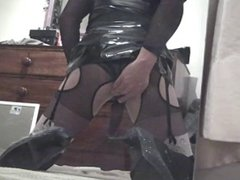 Playing with my buttplug dressed in a bodystocking