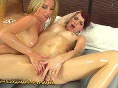Lesbian Nuru massage with two amazingly hot chicks