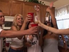 Sexy college girls start an orgy at a frat house party