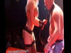 Naughty stripper babe is teasing a horny guy on stage