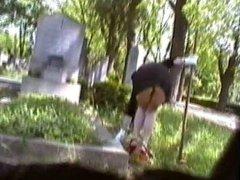 short dress no panty upskirt at cemetery part 1
