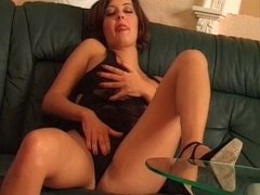 Busty brunette babe getting