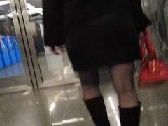 Fishnet stockings upskirt in subway