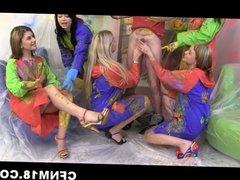 Five next-door girls humiliate their neighbour
