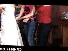 Bride Sandra fucks stripper and waiter at her CFNM party