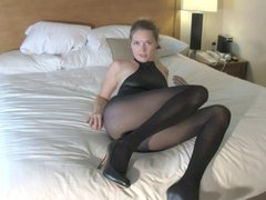 Dom in leotard and nylons wants your left nut JOI