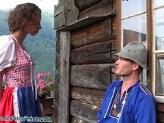 Mountain fuck fest hard oral job in the alpens and cum