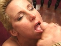 Seductive older blonde blows a small dick to cumpletion