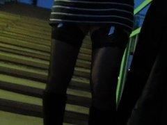Black stockings and white garterbelt upskirt